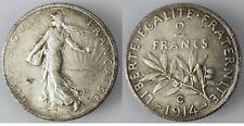 2  FRANCS  SEMEUSE  ARGENT  1914  C  ,  CASTELSARRASIN , SUPERBE