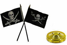 "Jolly Roger Pirate Brethren & Calico Flag 4""x6"" Desk Set Table Gold Base"