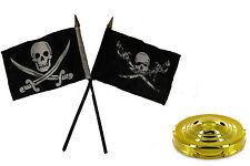 "Jolly Roger Pirate Brethren & Calico Jack Flag 4""x6"" Desk Set Table Gold Base"