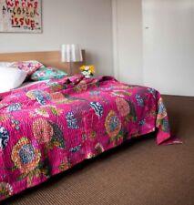 Handmade Kantha Quilt Pure Cotton ReversibleThrow Bedspread Pink Tropicana Queen