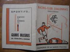 saison 1945 PROGRAMME Calendrier Rugby CHALON sur SAONE 1946 sport