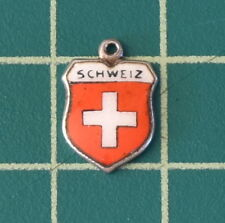 Vintage Silver and Enamel Schweiz Switzerland Travel Shield Coat of Arms Charm