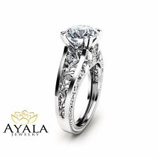 Unique 2 Carat Diamond Ring Filigree Engagement Ring 14K White Gold Ring