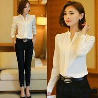 Women Fashion Formal Cotton White Shirt Office OL Work Uniform Blouse Tops S-XXL