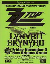 Zz Top / Lynyrd Skynyrd 1999 Tour New Orleans Concert Poster / Green
