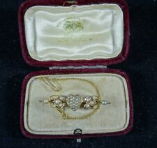 Solid 18ct Gold Victorian Puffy Heart Shaped Floral Seed Pearl Bar Brooch in Box