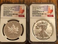 2019 Pride of Two Nations 2 pc. Set U.S. Set NGC PF70 First Release Flags Label