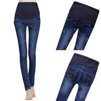 Hot!Maternity Pregnant Women Jeans Pants Stretchy Blue Cotton Nursing Trousers
