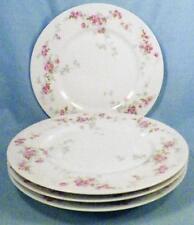 4 Limoges Dessert Plates Pink Cabbage Roses D & C L Bernardaud Porcelain Vintage