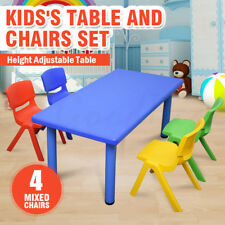 Large Kids Toddler Children Activity Table and 4 Chair Chairs Blue 120x60cm L