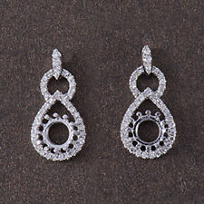6mm Round Cut Solid 14K White Gold Natural Diamond Semi Mount Earring Settings