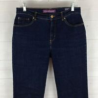 Gloria Vanderbilt womens size 6 stretch blue dark wash mid rise tapered jean EUC