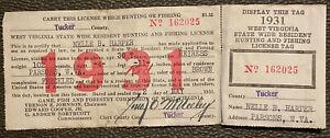 RARE 1931 West Virginia WV FEMALE HEIRESS Hunting & Fishing License Badge