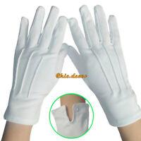 1 Pair White Formal Gloves Tuxedo Guard Parade Santa Mens Inspection Fancy Dress