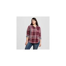 4e05f8689cec5 Ava   Viv Womens Plus Size Plaid Button Down Shirt Coral Navy. New.