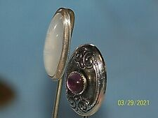 Antique Lot Of 2 Silver Hat Pins Stick Pins Nice Stones