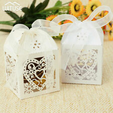 50-200 PARTY WEDDING FAVOR BOXES CANDY GIFT BAG LASER CUT 3D HOLLOW+RIBBON 4006
