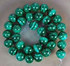 Natural 12mm Green Malachite Gemstone Round Loose Beads 15'' AAA