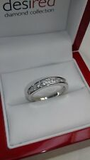 Sterling silver princess cut eternity ring.Hallmarked 925 size S {No.1}