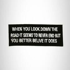WHEN YOU LOOK DOWN Iron on Small Patch for Biker Vest SB926