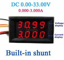 33V 3A DC Voltmeter Ammeter Digital LED Voltage current meter 12V 24v Shunt RED