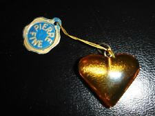 PENDENTIF COEUR EN AMBRE VERITABLE VINTAGE 70 NEUF 1.6 X 2.3 CM /AMBER HEART
