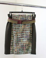 Byron Lars Beauty Mark Tweed Panel Button Belted Pencil Skirt Size 2 Green