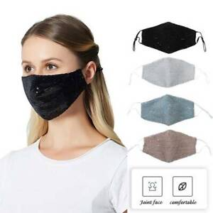 Face Mask Glitter Sequin Covering Mouth Masks Sparkly Washable Reusable Bling mc
