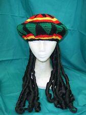 Bob Marley Rasta Beanie Hat With Dreadlocks Wig  Jamaican Fancy Dress Costume