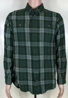 Duluth Trading Co Mens Size Medium Trim Fit Green Plaid Button Up Flannel Shirt