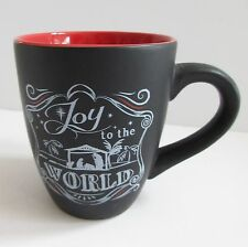 JOY TO THE WORLD 12 oz Christmas Coffee Mug Chalk Talk Nativity Black White Red