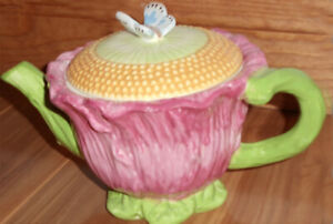 Pink Ornamental Teapot-Butterfly on Lid -Kate Williams-Global Design Connections