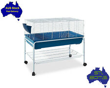 Pet Rabbit Guinea Pig Chicken 99cm Animal Metal Mobile Cage House Hutch w/ Stand