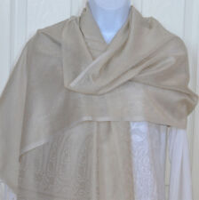 Banaras Silk Off White Woven Floral Paisley Design Shawl, Wrap, Stole