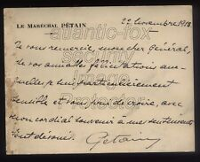 1918 FRANCE, RARE Marechal PETAIN Autographed Letter card ex Sir John Ponsonby