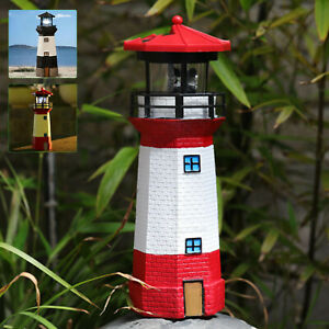 Solar Powered Lighthouse Rotating Led Bulb Garden Ornament Patio Light New