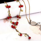 Bohemia Red Charms Old Gold Necklace Sweater Chain Cherry Pendant Women Ladies
