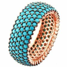 925 Sterling Silver Turkish Handmade Turquoise Stone 5 Row Eternity Ring