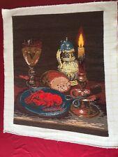 """Tapestry/ Goblin """"Homelessman's Dinner"""" Hand Made, DMC Stiches, Viller"""
