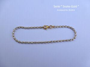 Armband Snake Gold 925er Sterlingsilber teils vergoldet Kugelarmband oval