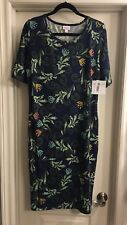 NWT Lularoe Vintage Navy Paisley Scroll Julia Dress XL Extra Large Unicorn 🦄🦄