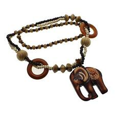 Men Women Vintage Wooden Elephant Rosary Beads Sweater Chain Pendant Necklace