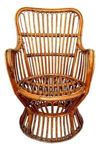 Armchair Small in Rattan Manufacture Pierantonio Bonacina Years 60 Vintage