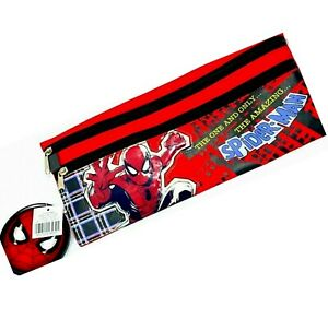 """Marvel Spider-Man 13"""" Wide  3-Zip Pencil Case (3+)  New with Tags"""