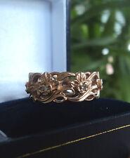 Welsh 14ct Rose Gold & Seven Diamond Daffodil Ring  Stuart Devlin - size O