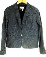 J Crew Schoolboy Womens Navy Blue Polka Dot Jacket Cotton Casual Blazer Size 6