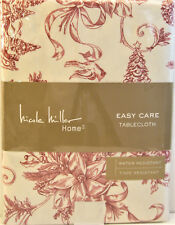 Nicole Miller Easy Care Tablecloth Christmas Toile Burgundy Ivory 60 x 84 - NEW