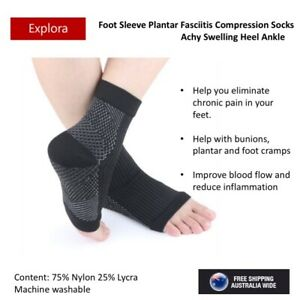 Compression Socks Foot Sleeve Plantar Fasciitis Achy Swelling Heel Ankle Support