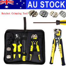 AU 7Pcs Ratchet Crimping Plier Crimper Terminal Cable Wire Strippers Tool Kit
