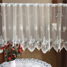 Sheer Voile Curtain Embroidered Floral Panel Cafe Kitchen Lace Window Valance